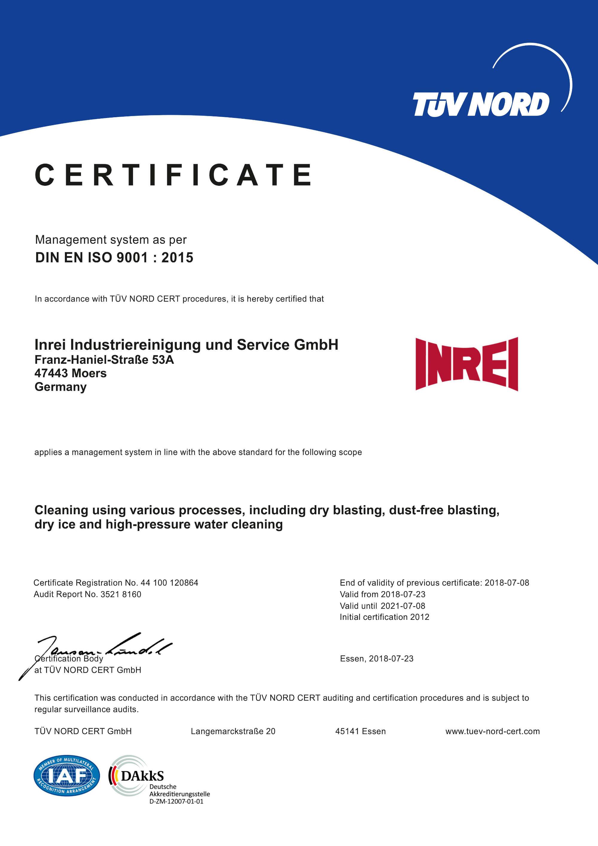 DIN EN ISO 9001 : 2015 Zertifikat
